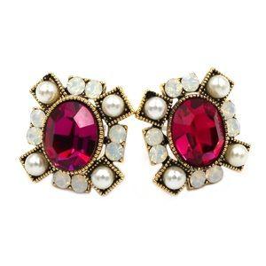 Red Elegant crystal pearl earrings